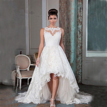 Vintage High Low Wedding Dresses 2016 Lace Princess Bridal Gowns Brush Train Custom Made Vestido de Casamento Longo