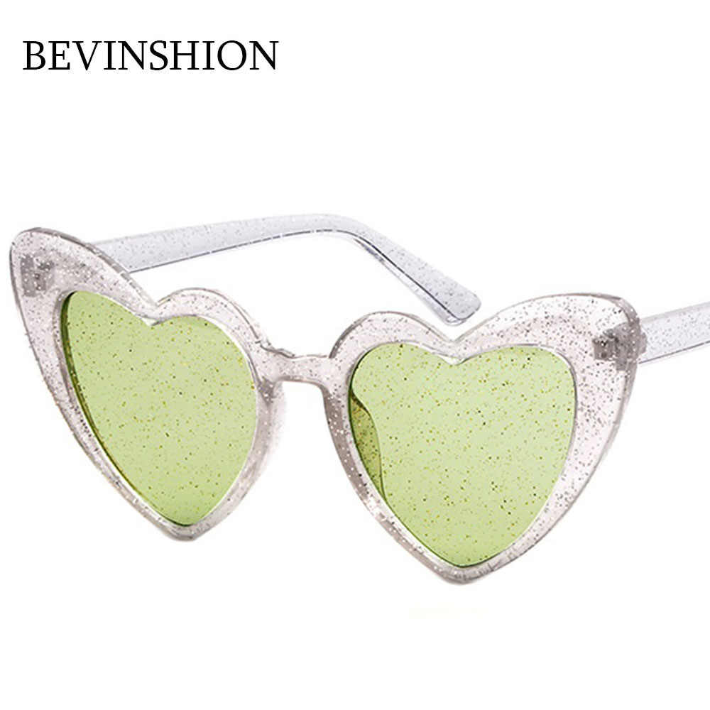 83b181cb35 ... Luxury Fashion Bling Shiny Heart Sunglasses Women Clear Frame Pink  Purple Yellow Glasses Cat Eye Love