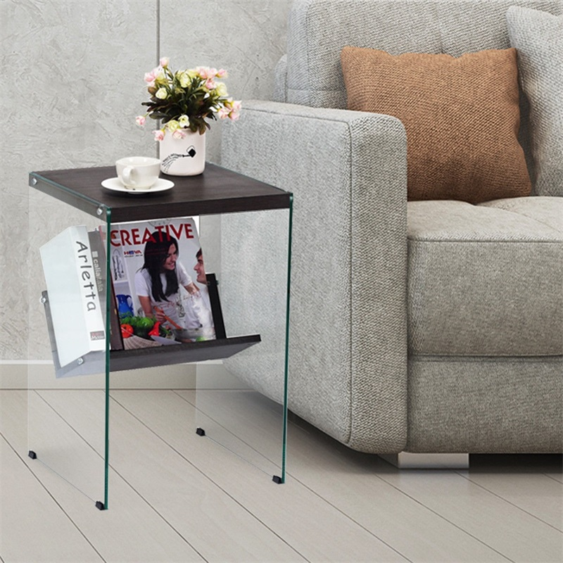Us 71 66 45 Off Modern 2 Tier Soho Tempered Gl Accent Table With Extra Storage High Quality Durable Sy L Shaped Design End Hw59447 In