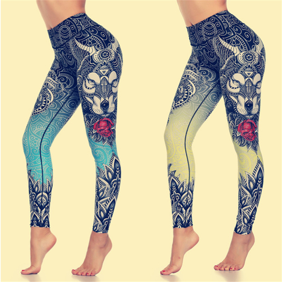 Ariel Sarah Seamless Yoga Pants Women's Fitness Sport Leggings Animal Head Print Gym Workout Tights Pants 4 Colours Available(China)