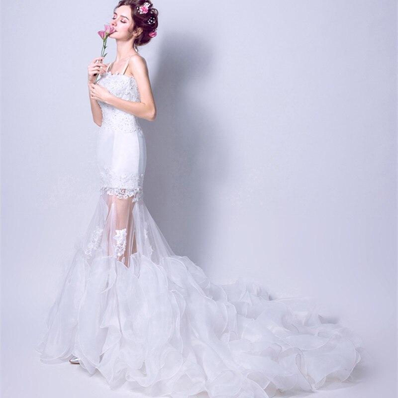 Mermaid Wedding Dress Bridal wedding Gown simple court Train beading ...