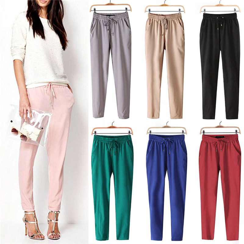 US $7.22 15% OFF|Damskie klasyczne miękkie spodnie z dzianiny damskie Harem dorywczo spodnie sznurkiem spodnie z elastyczną gumką w pasie kobiety