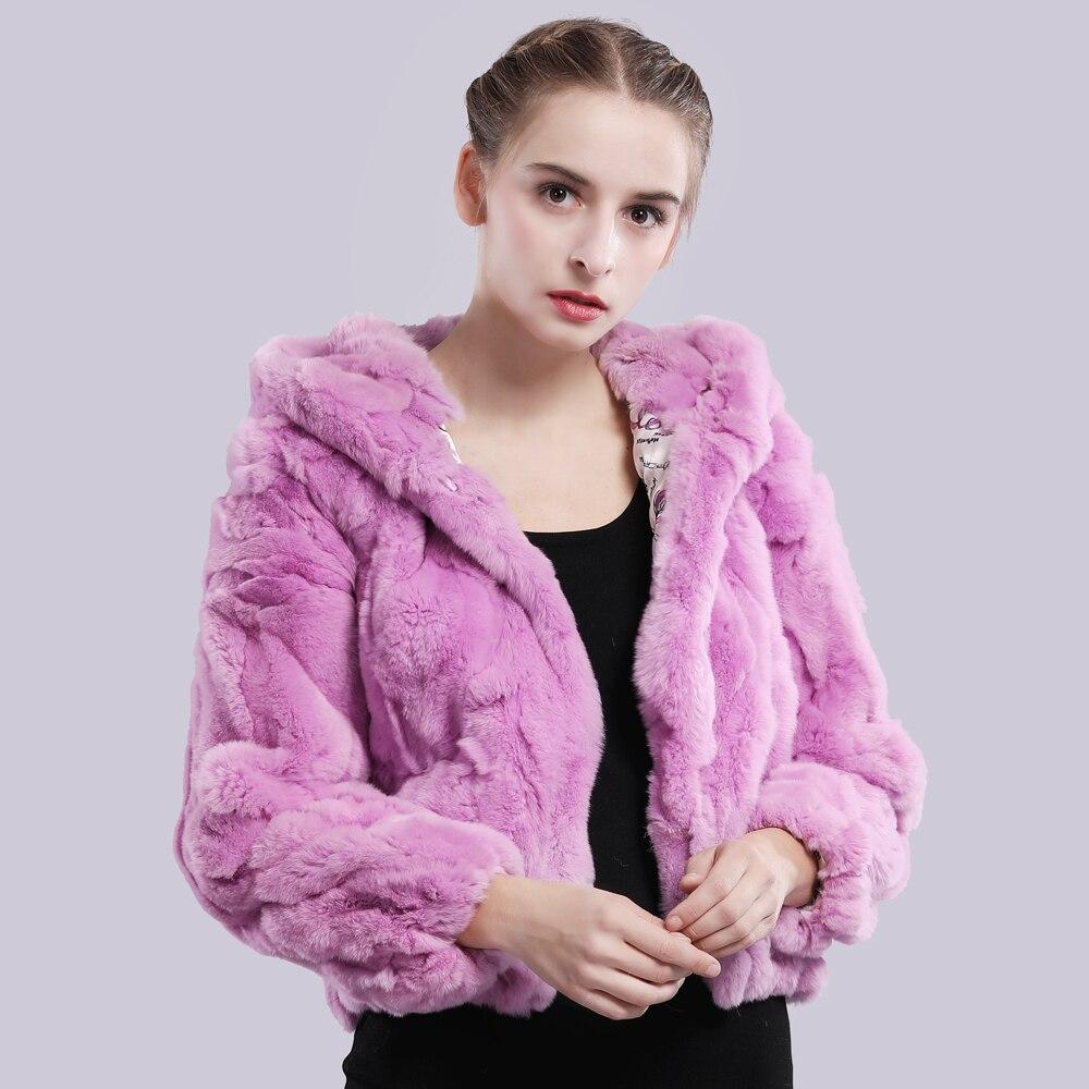 Image 3 - 2019 New Style Winter Genuine Real Rex Fur Jacket Women Fashion Brand Rex Rabbit Fur Coat Natural Rex Rabbit Fur Hooded Overcoat-in Real Fur from Women's Clothing
