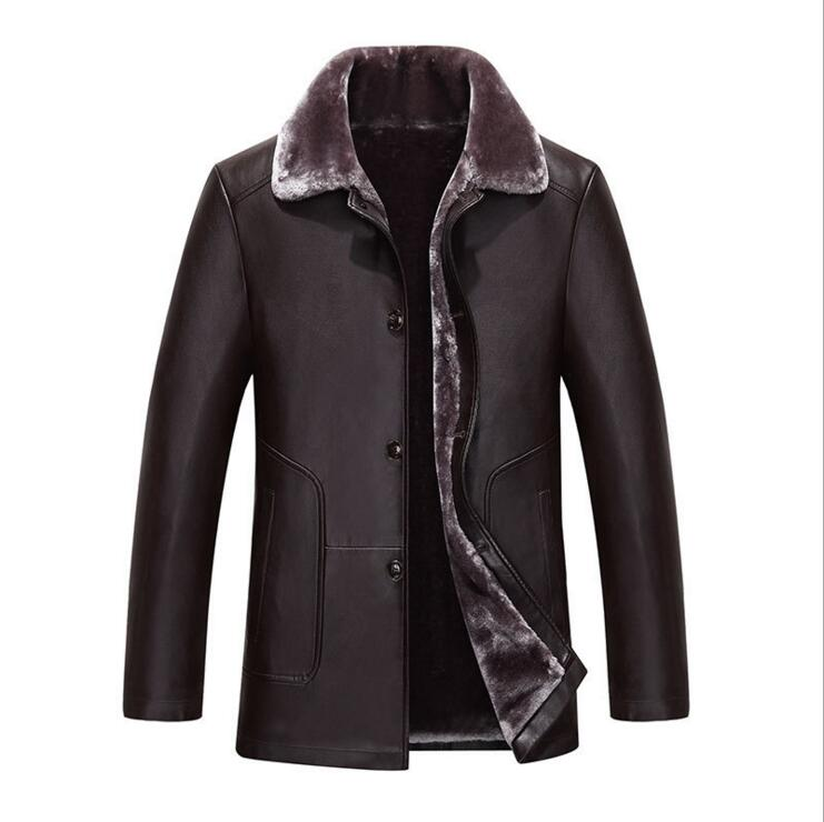 More Winter Warm Man Sheep Leather Jacket Fur Coat Russian Men Against The Cold Middle-aged Men Business Leather Jacket