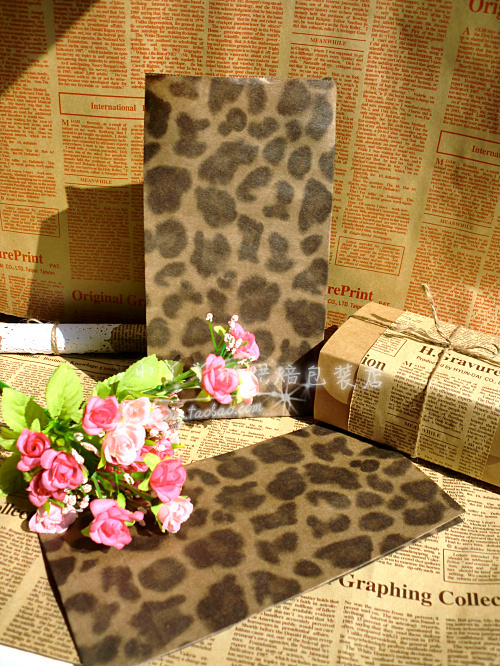 Size Of 23x 12x 7.5cm New Styles Light Brown Leopard Print Without Handle Paper Bag 50pcs/kot Food Packaging Kraft Pouches