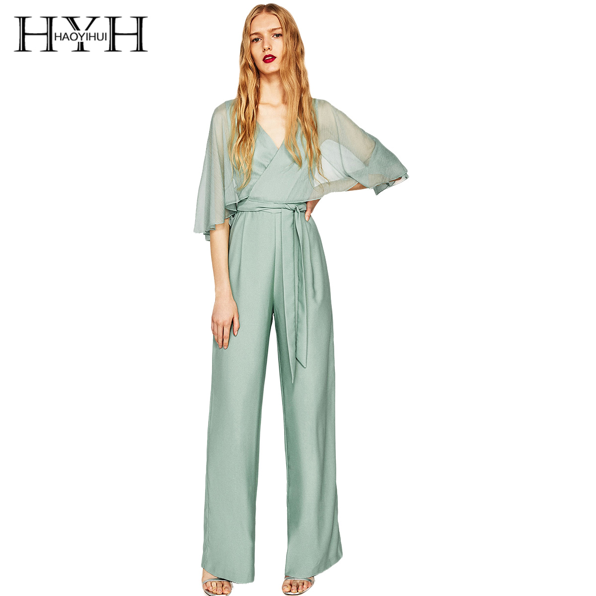HYH HAOYIHUI 2018 Sexy New Fashion Women Elegant Contrast Sheer Brief Half Sleeve High-Waist Solid V-Neck   Jumpsuits