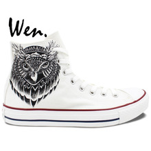 Wen Original White Hand Painted Shoes Design Custom Owl Head Men Women's High Top Canvas Sneakers for Gifts