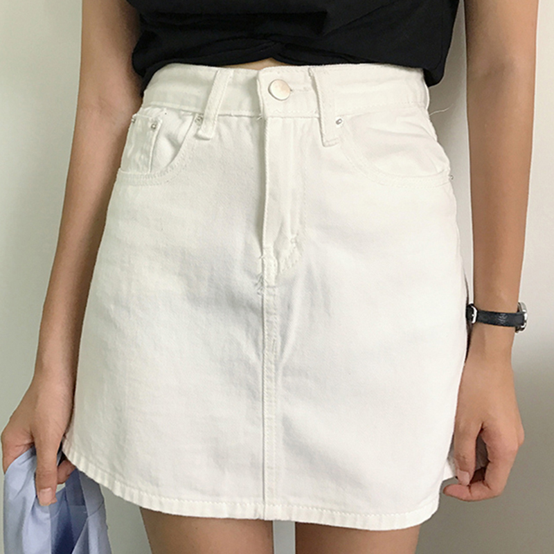 Summer Women Denim Skirt Casual A Line Jean Skirt Woman Saia Jeans Fashion High Waist Mini Skirts Black White Pink Jupe Femme