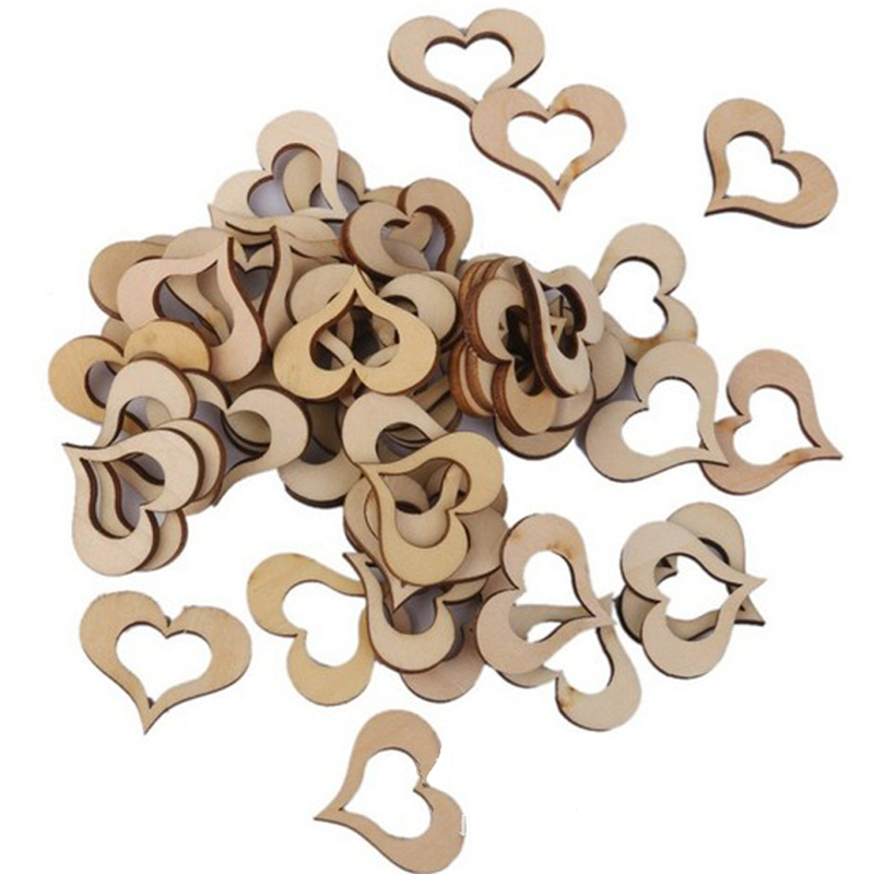 Baby Shower 100pcs 1/2/3 Cm Laser Cut Heart Shaped Natural Wood Hanging Ornament Wedding Decorations Happy Birthday Party Kids,8