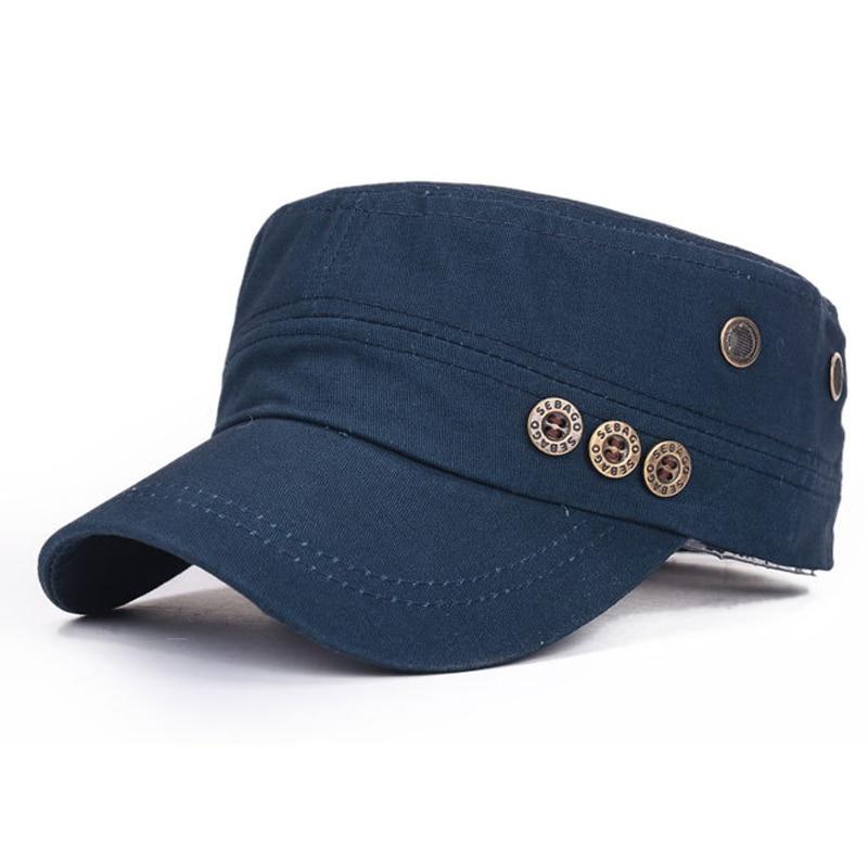 Hombres Mujeres Algodón Sombreros Miltary para Hombre Verano Otoño Flat Top Cap Army Kepi Transpirable Ajustable Papás Gorras