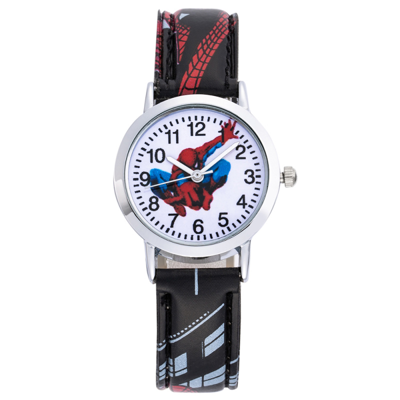 Children's Quartz Watch Leather Belt Montre Femme Horloge Hot Fashion Cartoon Charactor Pattern Spiderman Clock Drop Shipping