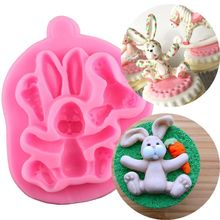 Happy Easter Cute 3D Rabbit With Carrot Silicone Cake Fondant Mold Pudding Chocolate Mould Soap Tray Decorating Baking Tool 3d carrot rabbit cake mould easter bunny silicone mold cupcake topper fondant cake decorating tools