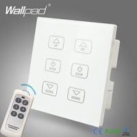 110V 250V Wallpad White Glass Touch Panel 6 Gangs Wireless Remote Control Double Fan Speed Regulator Switch