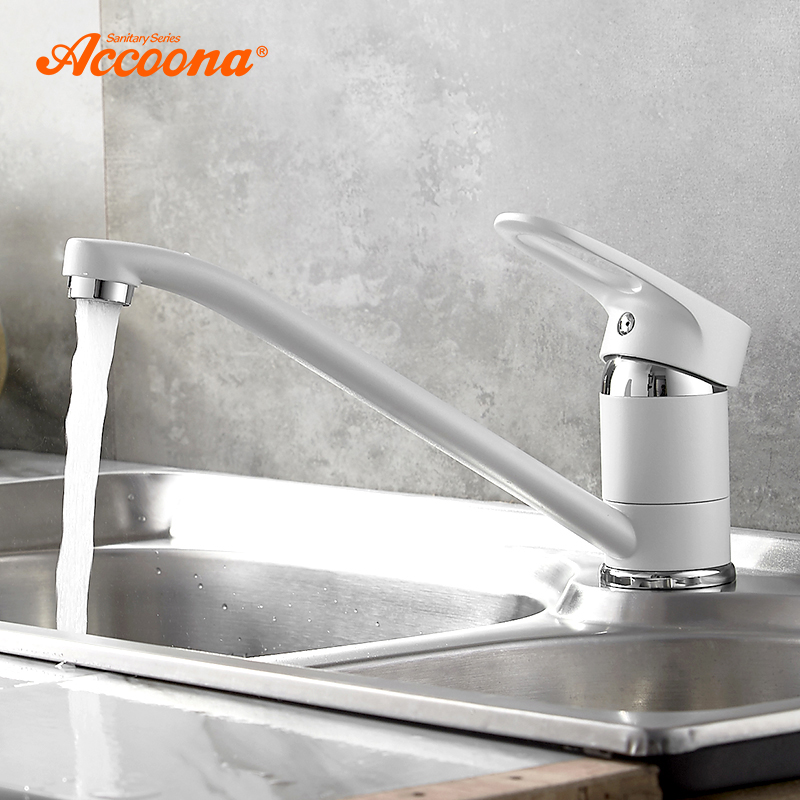 Accoona Spray Paint Kitchen Faucet Long Pipe 360 Degree Rotation with Water Purification Kitchen Features Single Handle A4130 цена 2017