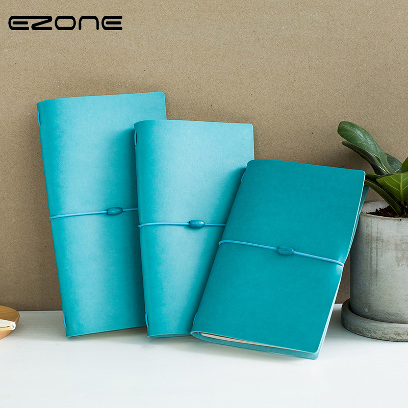 EZONE Bandage Notebook Blue/Grey PU Leather Memo Pad Kawaii Note Book Literary Notepad Traveler Journey Diary School Supplies 2018 pet transparent sticky notes and memo pad self adhesiv memo pad colored post sticker papelaria office school supplies