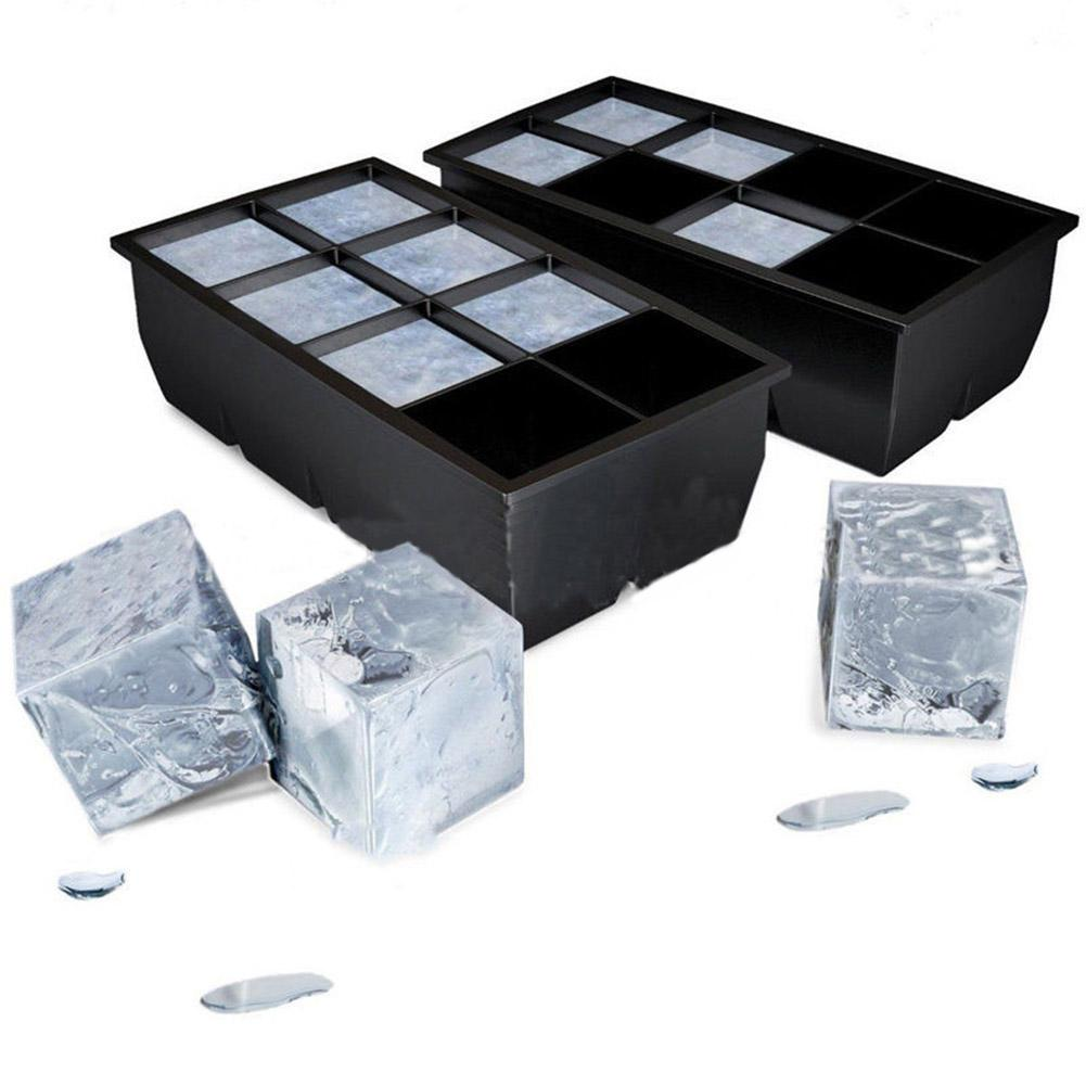 black 8 big grids silicone jumbo ice cube maker tray for cocktail cold drink