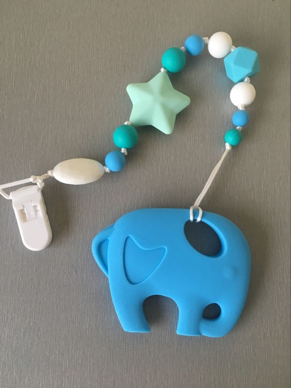 Cute Baby Teether Chains Toy or Accessory for Baby Pacifiers Safe Carrier pendant,Elepha ...