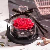 Valentine Souvenir Gifts 7 8 Cm Preserved Real Rose Flower Decorative Colorful Rose In Led Glass Wedding Decor