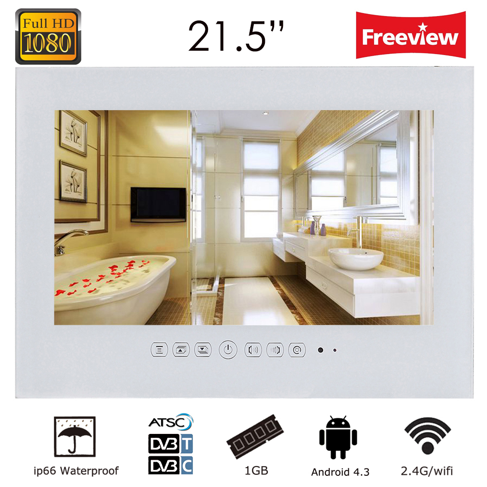 Souria 21.5inch Android Wi-Fi Black Glass Panel Waterproof Bathroom LED TV Frameless Bathroom LED Full HD 1080 Inernet TV