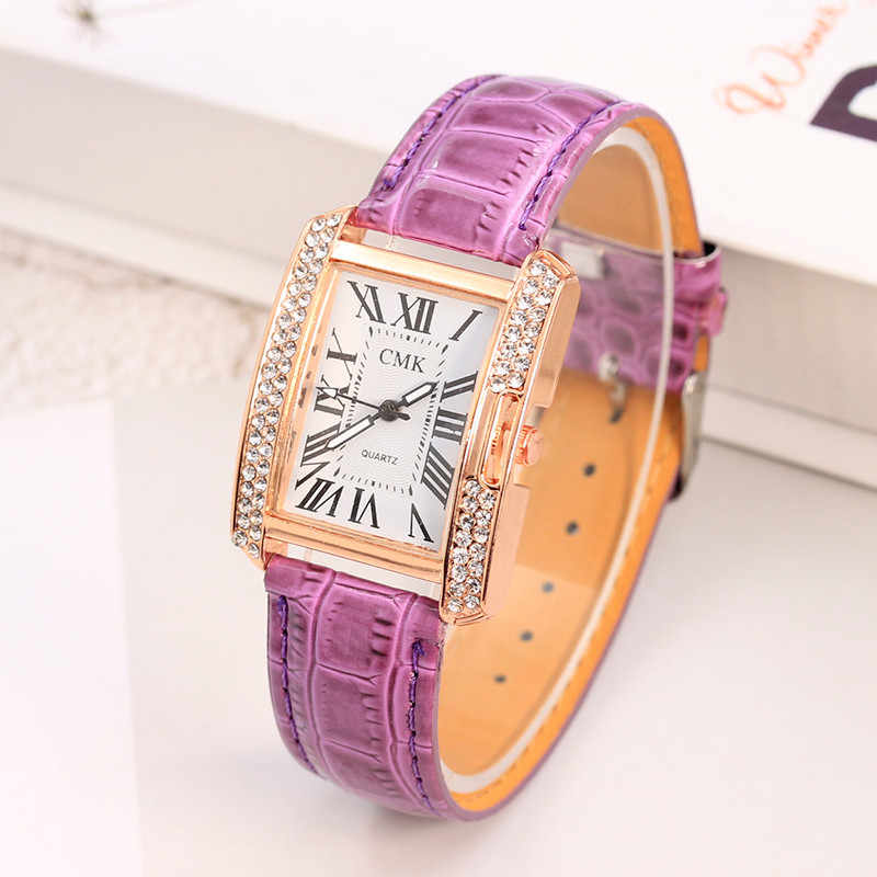 Luxury Women's Watches Ladies Leather Belt Analog Square Korean Rhinestone Female Women Watch Relogio Feminino Relojes