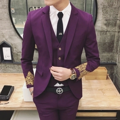 292cb9b4235 Wedding Suits For Men Suit Foamposites Stage Costume Embroidery Sleeve 3  Piece Set (Jacket. Purple Skinny ...