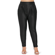 Women's Plus Size High Waisted Striped Tapered Pants