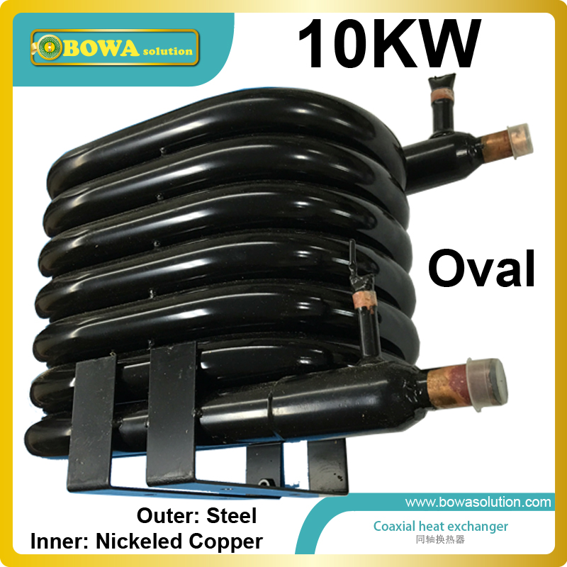 10KW Coaxial heat exchanger with nickeled copper as inner pipe suitable sea water cooled air condtioner or refrigeration units 28 plates heat exchanger as 14kw evaporator of air source or water source water chiller replace spx plate heat exchanger