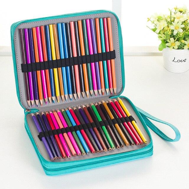 124 posiadacze o dużej pojemności piórnik dla Art długopisy akwarela kolorowe PU skórzane ołówki torba Box szkolne artykuły biurowe