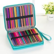124 홀더 대용량 연필 케이스 아트 펜 수채화 색 pu 가죽 연필 가방 상자 학교 문구 용품