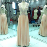 Women Formal Champagne Evening Dress Long 2018 A line V Neck Crystal Beaded Sexy Backless Prom Gown Party Dress Robe De Soiree