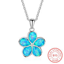 925 Silver Clover Pendant Necklaces for Women Blue Fire Opal Clover Chokers Necklace Flower Plant Jewelry Accessories Gift(China)