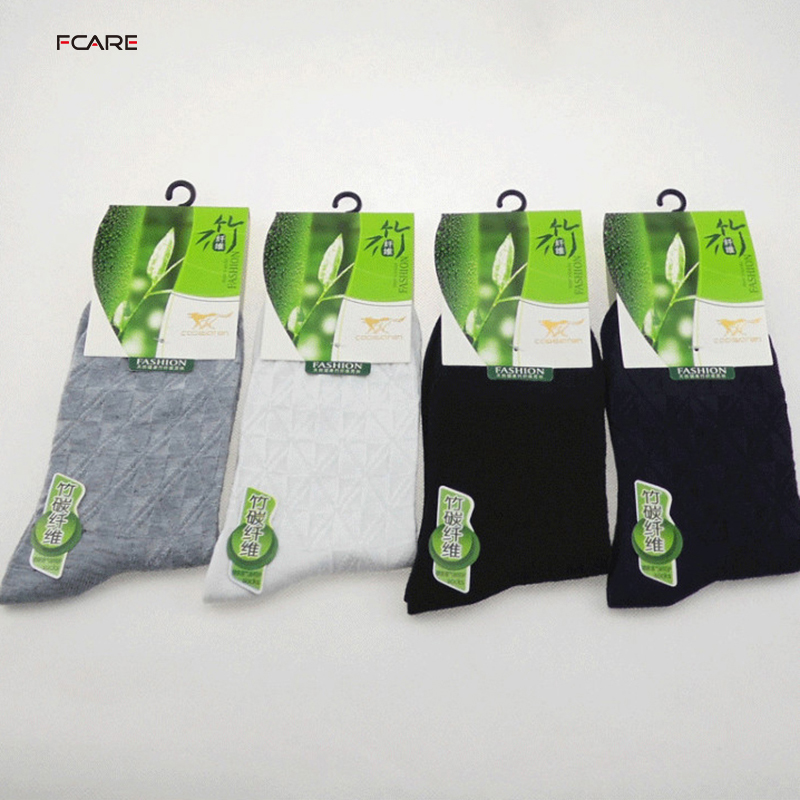 Fcare 10PCS=5 pairs bamboo fiber white black gray navy blue sokken calcetines hombre meias masculino lattice men dress socks