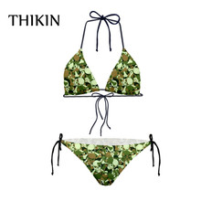 THIKIN Swimming Woman Skull Printing Swimsuit Camouflage Sexy Triangle Cup Brazelle Bikini Set Bathing Suits For Women s-xxl