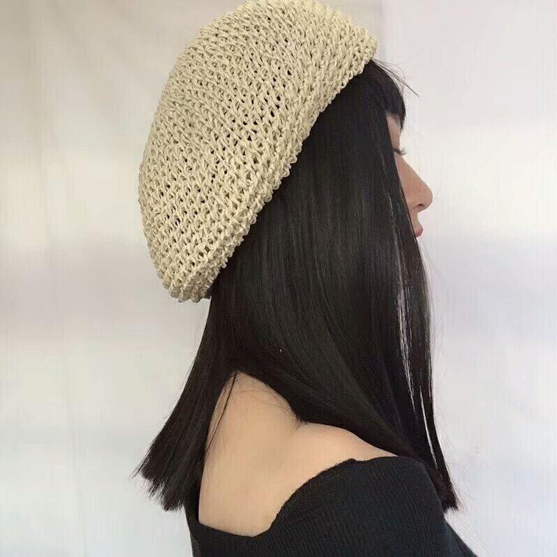 Fashionable designer crochet women paper straw beret spring summer hat drop shipping new 2018  LL180594