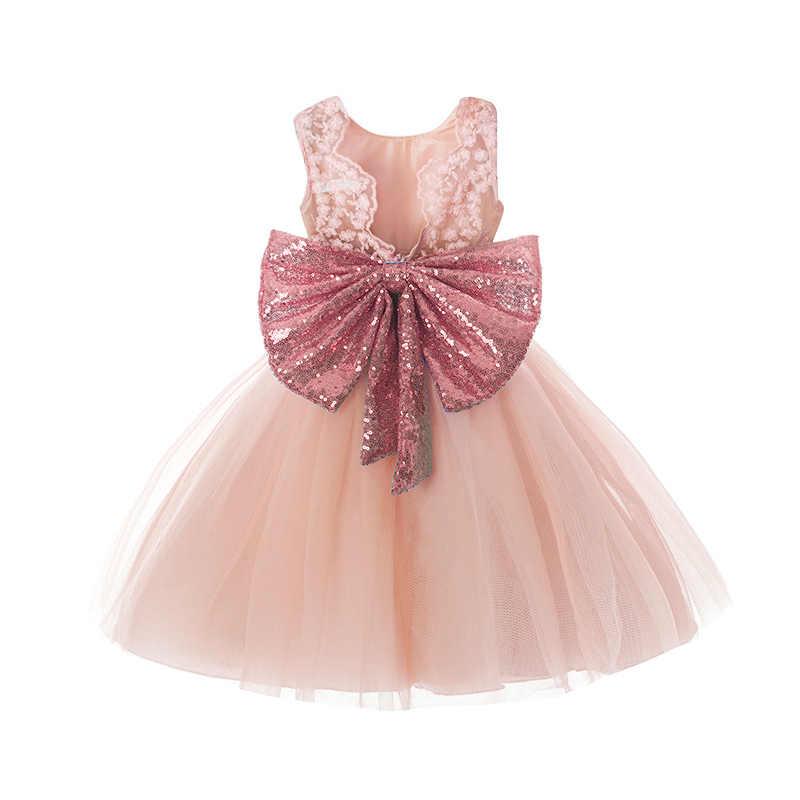 9427b7046 Rosa espalda descubierta princesa oro arco bebé vestido para niña bautizo 1  er cumpleaños fiesta regalo recién nacido bebé tutú niñas vestido