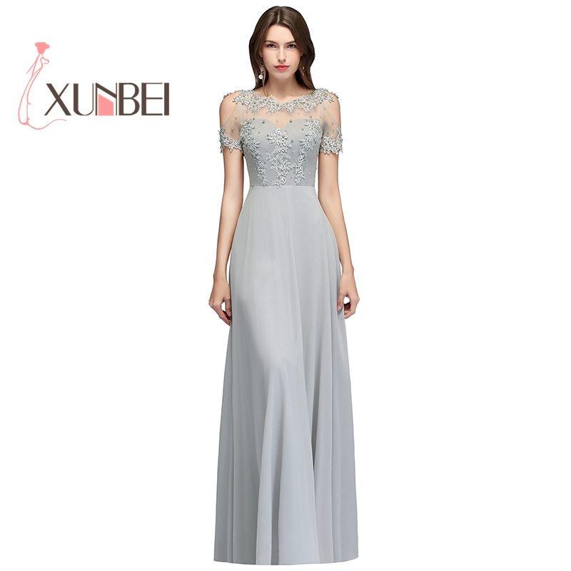 Vestido de festa longo Elegant Illusion Silver Appliqued Pears   Evening     Dresses   Long 2019 Short Sleeves Prom   Dresses   Party Gowns