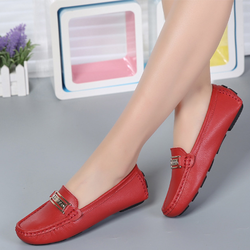 Women Slip On Genuine Leather Loafers Spring Ladies Metal Fashion Flat Shoes Female Sewing Comfortable Bottom Casual Woman Shoes