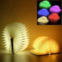 Warm White Portable USB Rechargeable LED Magnetic Foldable Wood Grain Book Lamp Night Light Desk Lamp Hot Sale for Home Decor