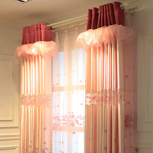 7stories Lavish embroidery simple new marriage room pink gauze modern curtain for living room customized children bedroom canopy-in Curtains from Home ... & 7stories Lavish embroidery simple new marriage room pink gauze ...