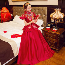 98e636b65d9b1 Mariée rouge moderne Cheongsam chinois Robe traditionnelle mariage Qipao  robes de broderie Robe Chinoise Style Oriental Robe de .