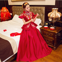 Red Bride Modern Cheongsam Chinese Traditional Dress Wedding Qipao Embroidery Dresses Robe Chinoise Oriental Style Evening Gown