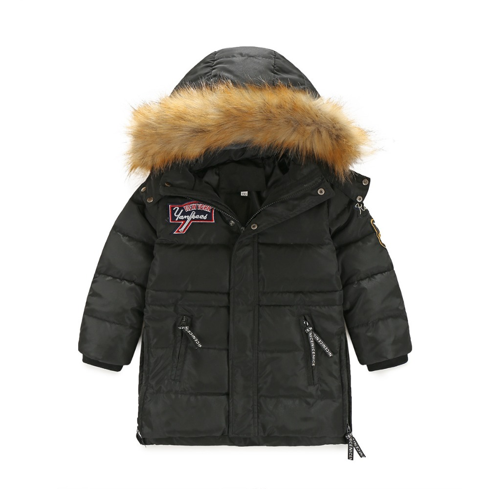 2016 New Boys Winter Long Down Jackets Outerwear Coats Fashion Big Fur Collar Thick Warm White Duck Down buenos ninos thick winter children jackets girls boys coats hooded raccoon fur collar kids outerwear duck down padded snowsuit