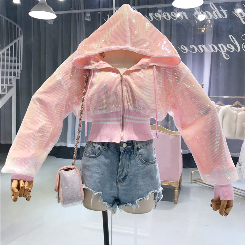 Black Coat Cool Harajuku pink Pink Dy203 Silver Street Loose Autumn Spring Hooded Short Women Jacket Sparkle Shinny silver Sequins Bomber OnTtFg