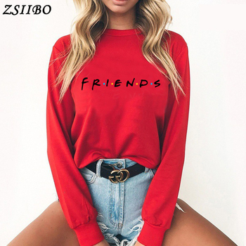 2018new FRIENDS letter printing sports ladies sweater sweater solid color thickening Harajuku long-sleeved pullover high quality