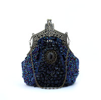 Navy Blue Ladies Beaded Sequined Banquet Wedding Evening Bag Clutch Handbag Bridal Party MakeupBag Purse Free