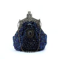 Темно-Синяя женская сумка  расшитая блестками  для банкета  свадьбы  вечеринки  бесплатная доставка 03321-F