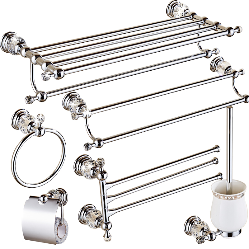 Luxury Bathroom Accessories Crystal Solid Brass Bath Hardware Set Toothbrush Holder Metal Chrome Toilet Brush Holder Towel Rack image