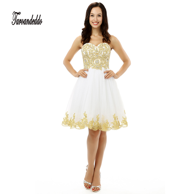 Sweetheart Gold Lace Applique A Line White Tulle Short Prom Dress