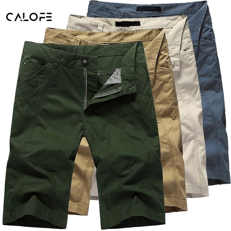 CALOFESummer Short For Men Mens Cargo Short Male Long Army Green Khaki Plus Size Mens Solid Slim Fit Casual Short Trousers
