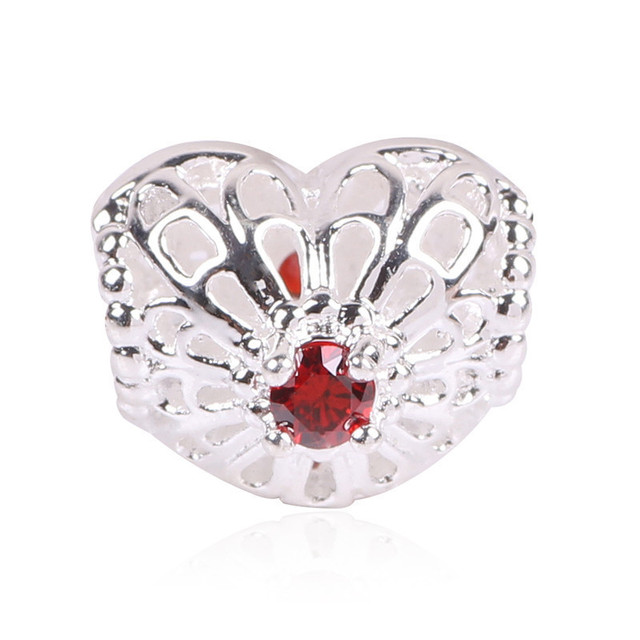 Ranqin Silver Color Love Hearts Symbol European Charms Beads Fit